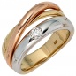 Preview: Damen Ring 585 Gold dreifarbig tricolor 1 Diamant Brillant 0,15ct. Goldring