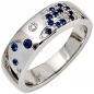 Preview: Damen Ring 585 Gold Weißgold 13 Diamanten Brillanten 0,10ct. 15 Safire blau