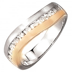 Damen Ring 585 Gold Weißgold Gelbgold bicolor matt 11 Diamanten Brillanten