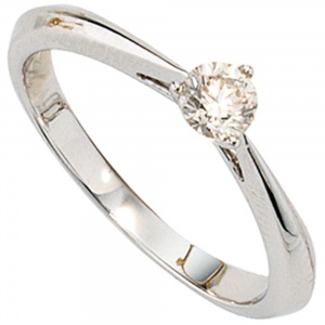 Damen Ring 585 Gold Weißgold 1 Diamant Brillant 0,25ct. Diamantring Weißgoldring