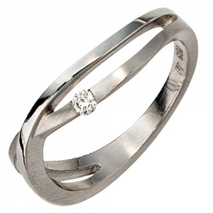 Damen Ring 950 Platin matt 1 Diamant Brillant 0,05ct. Platinring