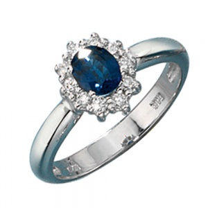 Damen Ring 585 Gold Weißgold 1 Safir blau 10 Diamanten Brillanten Goldring