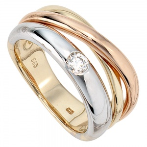 Damen Ring 585 Gold dreifarbig tricolor 1 Diamant Brillant 0,15ct. Goldring