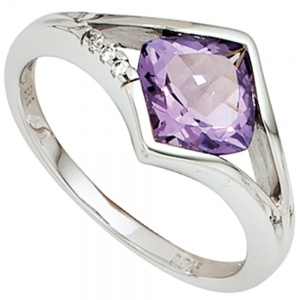 Damen Ring 585 Gold Weißgold 3 Diamanten Brillanten 1 Amethyst lila violett