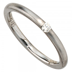 Damen Ring 950 Platin matt 1 Diamant Brillant 0,06ct. Platinring