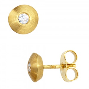 Ohrstecker 585 Gold Gelbgold matt 2 Diamanten Brillanten 0,10ct. Ohrringe