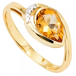 Damen Ring 585 Gold Gelbgold 1 Citrin orange 4 Diamanten Brillanten Citrinring