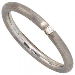 Damen Ring 925 Sterling Silber rhodiniert matt 1 Diamant Brillant Silberring