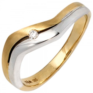 Damen Ring 585 Gold Gelbgold Weißgold bicolor matt 1 Diamant Brillant