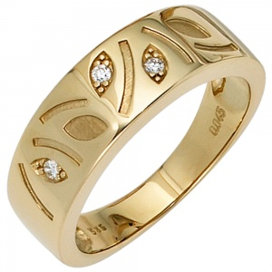 Damen Ring 585 Gold Gelbgold 3 Diamanten Brillanten 0,04ct. Goldring Diamantring