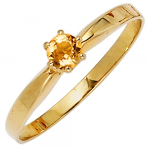 Damen Ring 585 Gold Gelbgold 1 Citrin orange Goldring Citrinring
