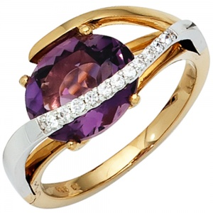Damen Ring 585 Gold bicolor 11 Diamanten Brillanten 1 Amethyst lila violett