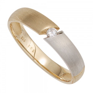 Damen Ring 585 Gold Gelbgold bicolor matt 1 Diamant Brillant 0,05ct. Goldring