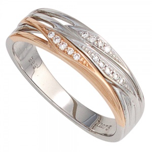 Damen Ring 585 Gold Weißgold Rotgold bicolor 14 Diamanten Brillanten Goldring