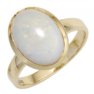 Damen Ring 585 Gold Gelbgold 1 Opal-Cabochon Goldring Opalring