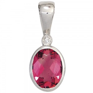 Anhänger oval 585 Gold Weißgold 1 rosa Turmalin 1 Diamant 0,01ct.