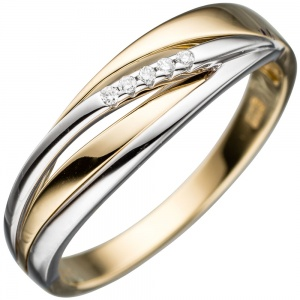 Damen Ring 585 Gold Gelbgold Weißgold bicolor 5 Diamanten Brillanten Goldring