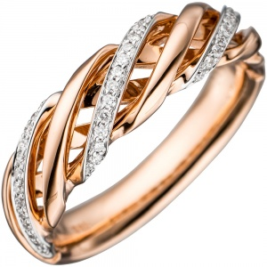 Damen Ring gedreht 585 Gold Rotgold bicolor 36 Diamanten Brillanten Goldring