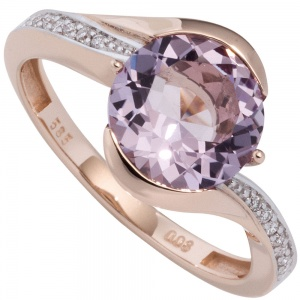 Damen Ring 585 Rotgold bicolor 16 Diamanten Brillanten 1 Amethyst lila violett