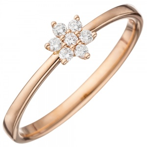 Damen Ring 585 Gold Rotgold 7 Diamanten Brillanten Diamantring Rotgoldring