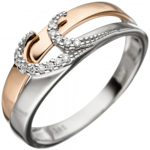 Damen Ring 585 Gold Weißgold Rotgold bicolor 13 Diamanten Brillanten Goldring