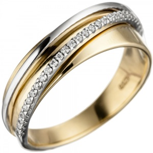 Damen Ring 585 Gold Gelbgold Weißgold bicolor 25 Diamanten Brillanten Goldring