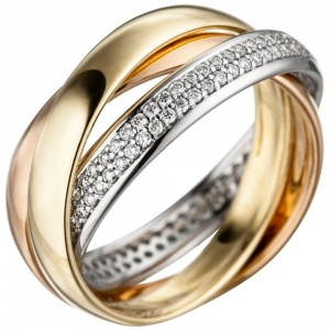 Damen Ring 585 Gold tricolor dreifarbig 122 Diamanten Brillanten Goldring