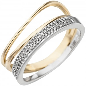 Damen Ring 585 Gold Gelbgold Weißgold bicolor 51 Diamanten Brillanten Goldring