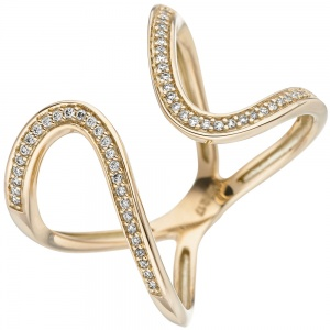 Damen Ring 585 Gold Gelbgold 55 Diamanten Brillanten Goldring Diamantring