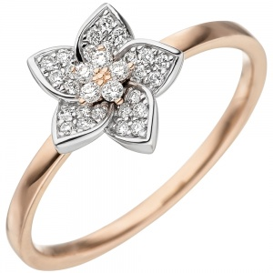 Damen Ring 585 Gold Rotgold Weißgold bicolor 30 Diamanten Brillanten Rotgoldring