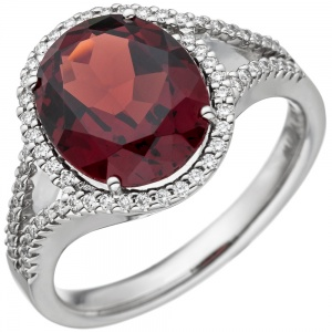 Damen Ring 585 Gold Weißgold 1 Granat rot 66 Diamanten Brillanten Granatring
