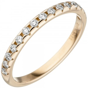 Damen Ring 585 Gold Gelbgold 15 Diamanten Brillanten Goldring Diamantring