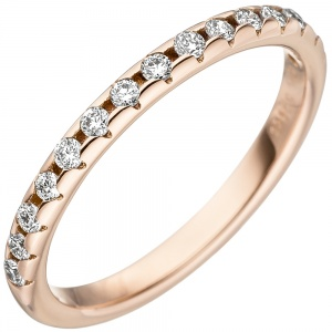 Damen Ring 585 Gold Rotgold 15 Diamanten Brillanten Rotgoldring Diamantring