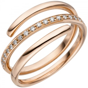 Damen Ring 585 Gold Rotgold 20 Diamanten Brillanten 0,14ct. Diamantring