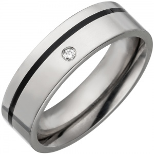 Partner Ring Titan mit Keramik schwarz 1 Diamant Brillant Partnerring Titanring