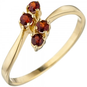 Damen Ring 375 Gold Gelbgold 4 Granate rot Goldring Granatring