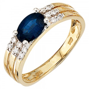 Damen Ring 585 Gold Gelbgold 1 blauer Safir 12 Diamanten Safirring Goldring