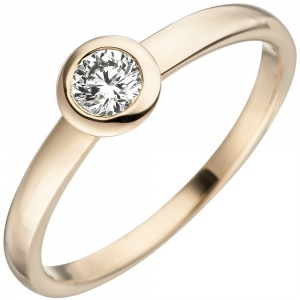 Damen Ring 585 Gold Gelbgold 1 Diamant Brillant Goldring Diamantring