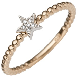 Damen Ring Stern 585 Gold Rotgold Weißgold bicolor 6 Diamanten Brillanten