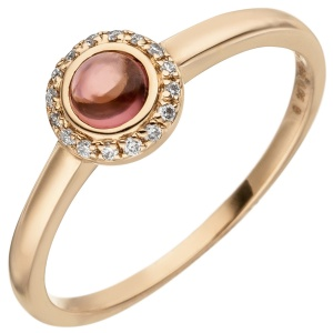 Damen Ring 585 Gold Rotgold 1 Turmalin Cabochon 16 Diamanten Brillanten 0,05ct.