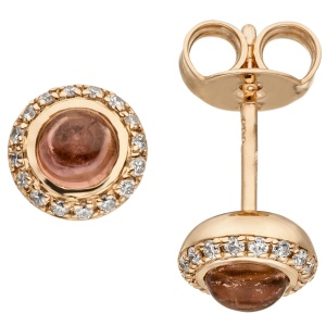 Ohrstecker 585 Gold Rotgold 2 Turmalin Cabochons 32 Diamanten Brillanten
