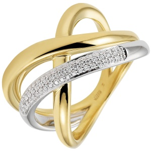 Damen Ring 585 Gold Gelbgold Weißgold bicolor 61 Diamanten Brillanten Goldring