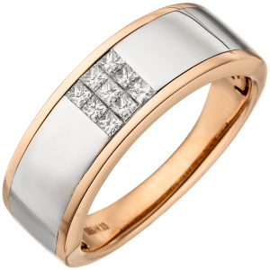 Damen Ring 585 Gold Rotgold bicolor 9 Diamanten Princess Schliff