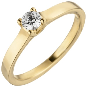 Damen Ring 585 Gold Gelbgold 1 Diamant Brillant 0,15 ct. Diamantring Solitär