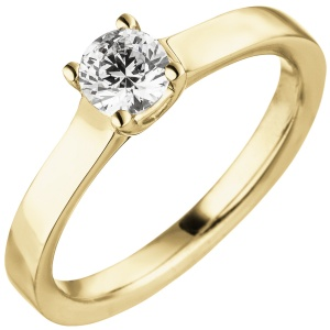 Damen Ring 585 Gold Gelbgold 1 Diamant Brillant 0,50 ct.Diamantring Solitär