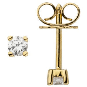 Ohrstecker 585 Gold Gelbgold 2 Diamanten Brillanten 0,14 ct. Ohrringe