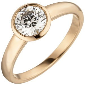 Damen Ring 585 Gold Rotgold 1 Diamant Brillant 1,0 ct. Diamantring Solitär