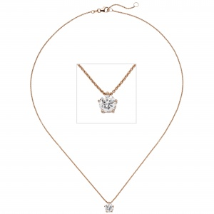 Collier Kette mit Anhänger 585 Gold Rotgold 1 Diamant Brillant 1,0 ct. 45 cm