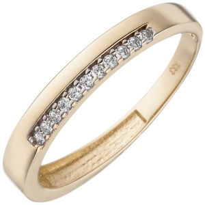 Damen Ring 333 Gold Gelbgold bicolor 11 Zirkonia Goldring