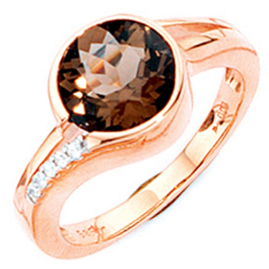 Damen Ring 585 Gold Rotgold 1 Rauchquarz braun 5 Diamanten Brillanten